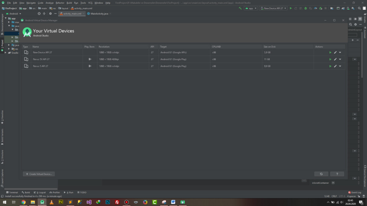 Android Studio Select Hardware