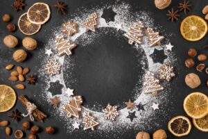 top view gingerbread cookies wreath with dried citrus nuts